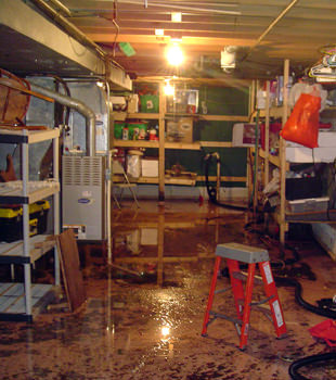 a flooded home in Northridge
